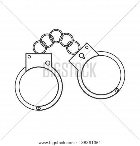 flat design metal handcuffs icon vector illustration