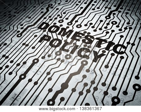 Political concept: circuit board with  word Domestic Policy, 3D rendering