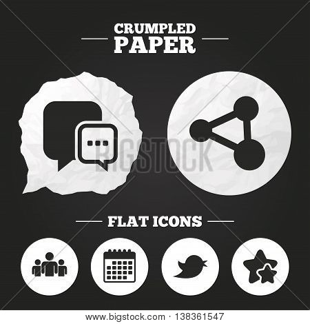 Crumpled paper speech bubble. Social media icons. Chat speech bubble and Bird chick symbols. Human group sign. Paper button. Vector