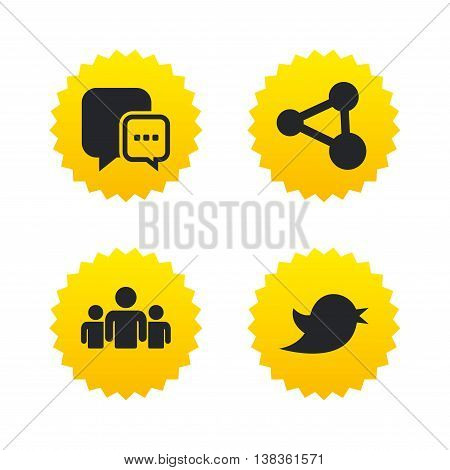 Social media icons. Chat speech bubble and Bird chick symbols. Human group sign. Yellow stars labels with flat icons. Vector