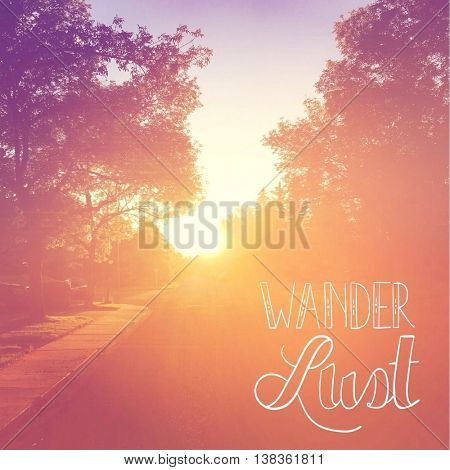 Inspirational Typographic Quote with Sunset  - Wander Lust