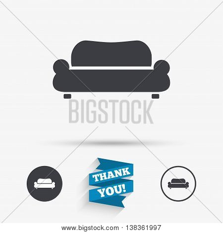 Comfortable sofa sign icon. Modern couch furniture symbol. Flat icons. Buttons with icons. Thank you ribbon. Vector