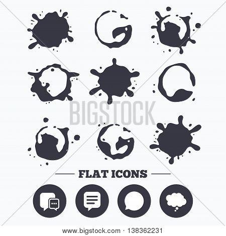 Paint, coffee or milk splash blots. Chat icons. Comic speech bubble signs. Communication think symbol. Smudges splashes drops. Vector