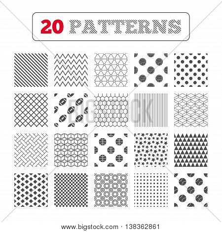 Ornament patterns, diagonal stripes and stars. Sport balls icons. Volleyball, Basketball, Baseball and American football signs. Team sport games. Geometric textures. Vector