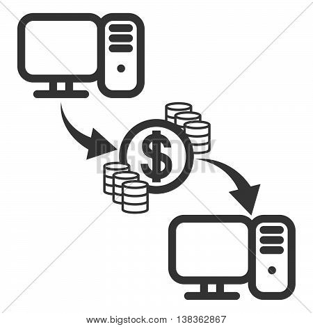 Money transfer icon. Send online money between computers. Internet bank payments - outline isolated vector illustration