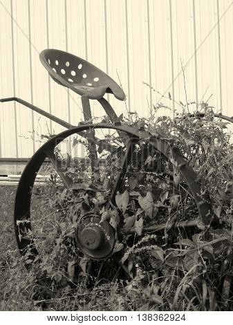 black and white antique farm machinery implement