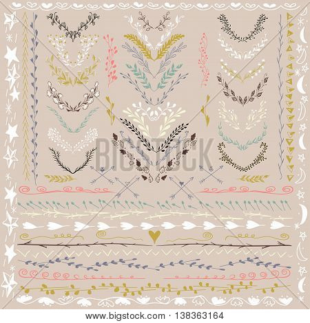 Set of Floral Design Elements. Wedding set with arrows, hearts, laurel, wreaths and labels. Decorative elements. Hand Drawn graphic elements. Pastel beige backdrop. Illustration. Can be use as decoration.