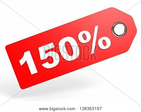 150 Percent Red Discount Tag On White Background.