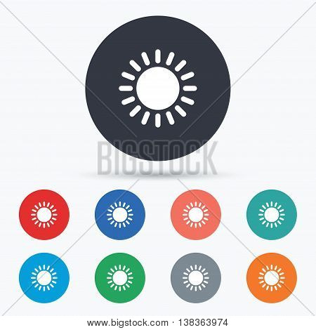 Sun icon. Sunlight summer symbol. Hot weather sign. Circle buttons with icons. Vector