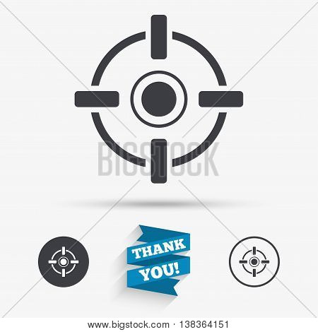 Crosshair sign icon. Target aim symbol. Flat icons. Buttons with icons. Thank you ribbon. Vector