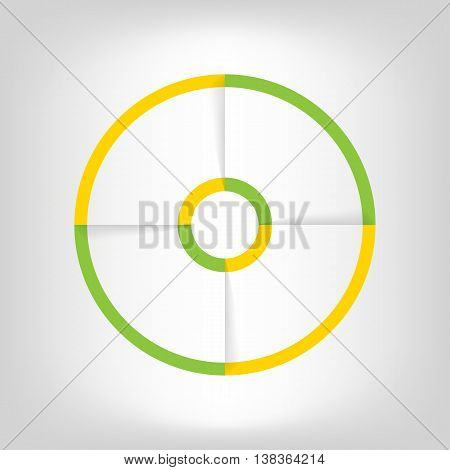 Infographic circle banner. Template for graph report presentation data visualisation cycling diagram round chart number options web design. 4 steps empty vector background. Green and yellow.