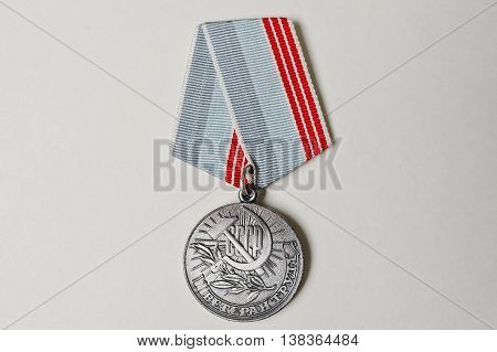 Soviet Medal For Labor Veteran On White Background