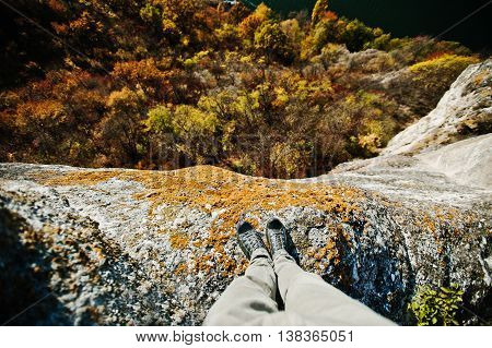 Standing On The Cliff. Thinking Of Committing Suicide, Depression And Stress Concept