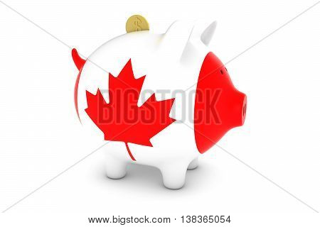 Canadian Flag Piggy Bank With Gold Dollar Coin 3D Illustration