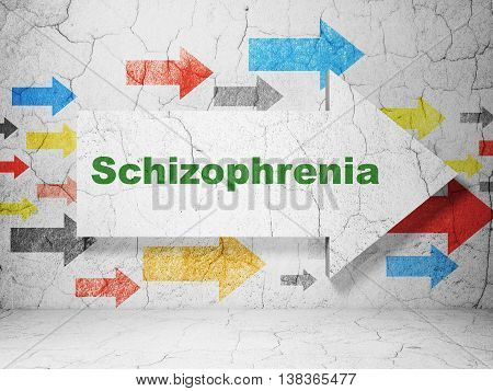 Healthcare concept:  arrow with Schizophrenia on grunge textured concrete wall background, 3D rendering