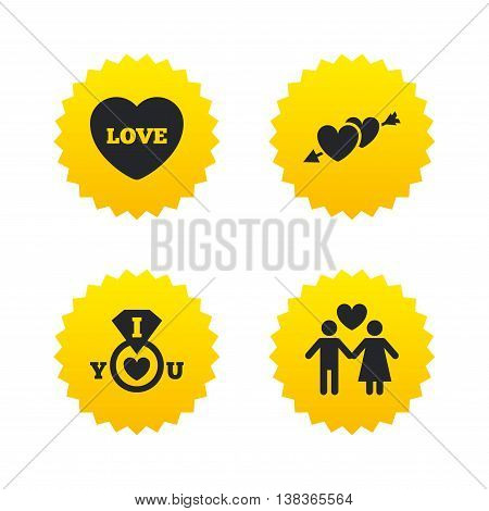 Valentine day love icons. I love you ring symbol. Couple lovers sign. Yellow stars labels with flat icons. Vector