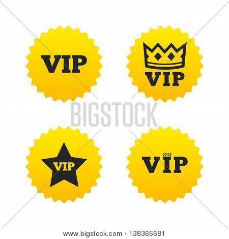 VIP icons. Very important person symbols. King crown and star signs. Yellow stars labels with flat icons. Vector