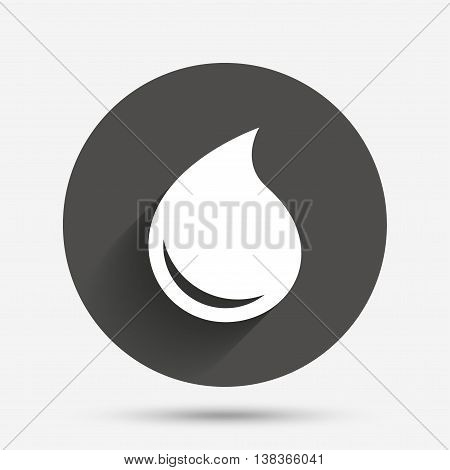 Water drop sign icon. Tear symbol. Circle flat button with shadow. Vector