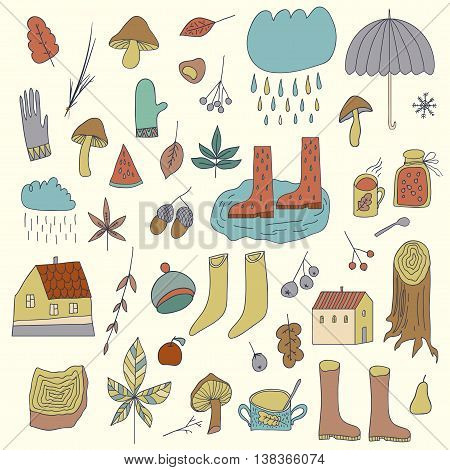 Autumn  Elements Set with umbrella,mushrooms, acorns, leaves and other. Can be used for scrapbook design invitation greetings or scrapbooking and other. Autumn elements.
