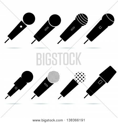 microphone set in black color art illustration on white