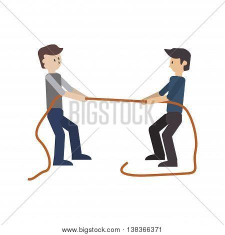 flat design businessmen pulling rope icon vector illustration