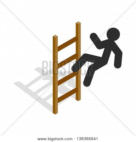 Man climbs the stairs icon in isometric 3d style isolated on white background. Career success symbol