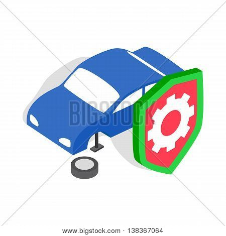 Repair machine icon in isometric 3d style isolated on white background. Garage symbol
