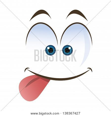 flat design tongue out emoticon face icons vector illustration