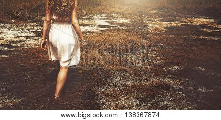 Summer Holiday Vacation Grassland Traveling Relaxation Concept