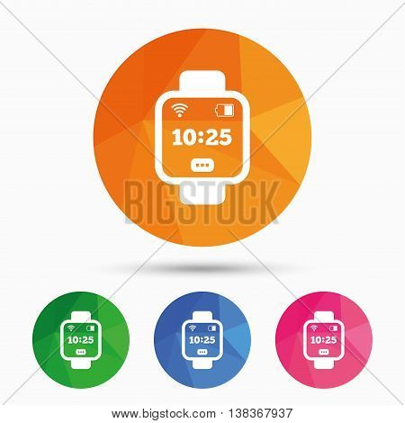 Smart watch sign icon. Wrist digital watch. Wi-fi and battery energy symbol. Triangular low poly button with flat icon. Vector