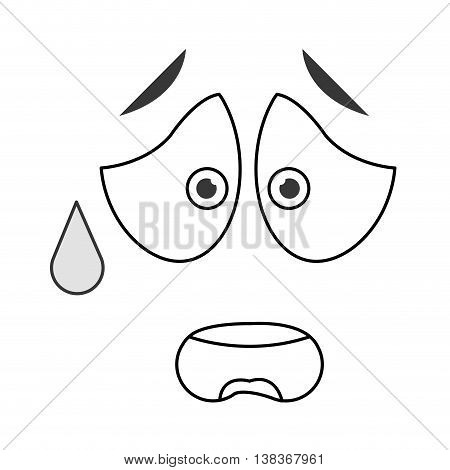 flat design worried emoticon face icons vector illustration