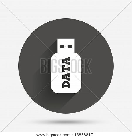 Usb Stick sign icon. Usb flash drive button. Circle flat button with shadow. Vector