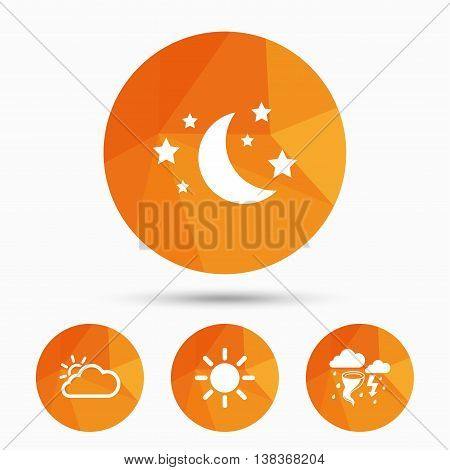 Weather icons. Moon and stars night. Cloud and sun signs. Storm or thunderstorm with lightning symbol. Triangular low poly buttons with shadow. Vector