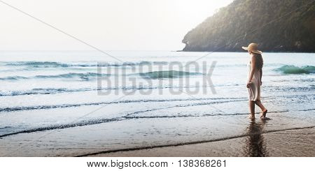 Female Explore Beach Break Peace Leisure Sea Concept