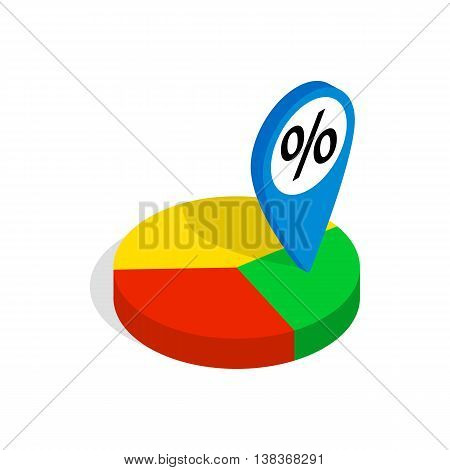 Pie chart icon in isometric 3d style isolated on white background. Compute symbol