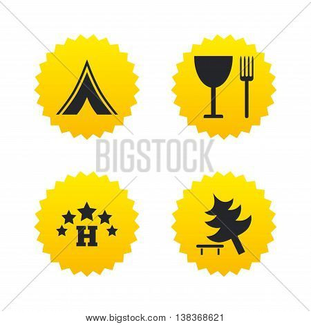 Food, hotel, camping tent and tree icons. Wineglass and fork. Break down tree. Road signs. Yellow stars labels with flat icons. Vector