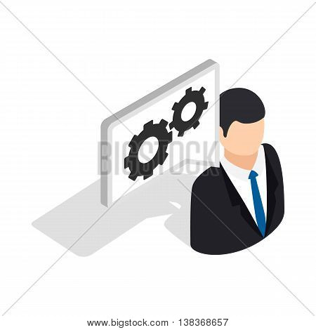 Manager of car service center icon in isometric 3d style isolated on white background. Service symbol