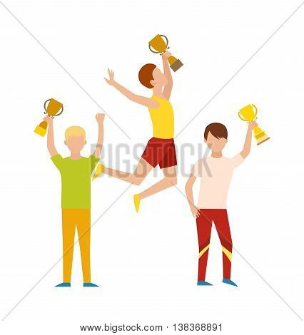 Trophy sports awards and winner team people. Winner athlete and young champion sports awards fitness trophy cup. Winning runner with winners, success competition sports awards character flat vector.
