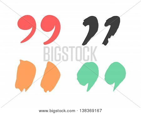 Quote sign icon text concept message bubble dialog symbol. Vector quotation mark symbol. Double quotes sign end of words. Circle buttons quote sign graphic talk double inverted label.