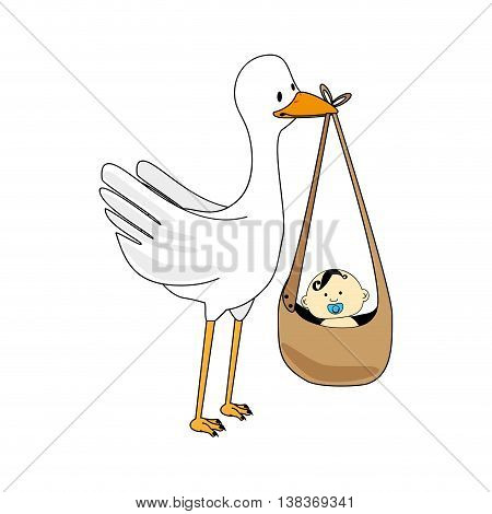 Stork with little baby cartoon coloful design, vector illustration.