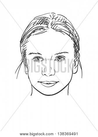 Face of beautiful young girl, Vector sketch, Hand drawn illustration