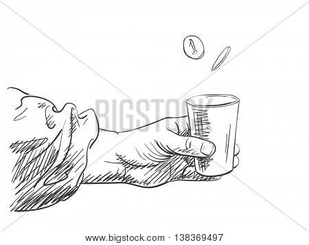 Vector sketch of hands holding cup for money, Hand drawn illustration
