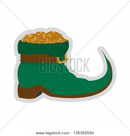 flat design leprechaun boots with gold coins icon vector illustration