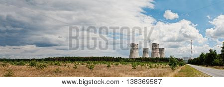 Large Panorama Of Nuclear Power Station. Tops Of Cooling Towers Of Atomic Power Plant