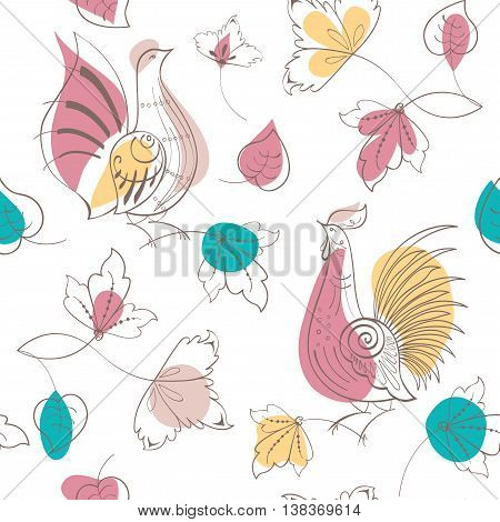 Vector seamless pattern. Turtledoves in Russian style