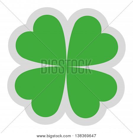 flat design lucky shamrock icon vector illustration