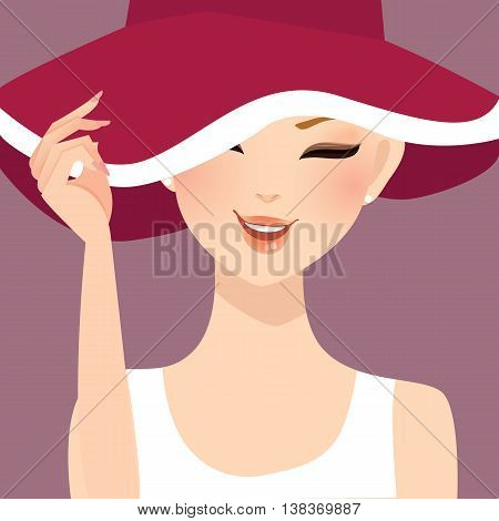 beautiful woman lady female wearing hat smile illustration vector