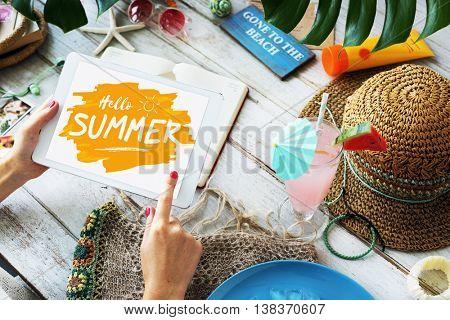 Summer Beach Digital Tablet Plan Concept