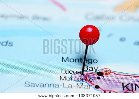 Lucea pinned on a map of Jamaica