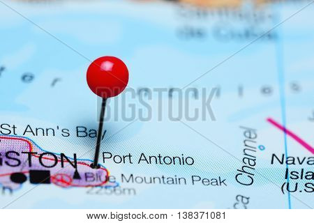 Port Antonio pinned on a map of Jamaica